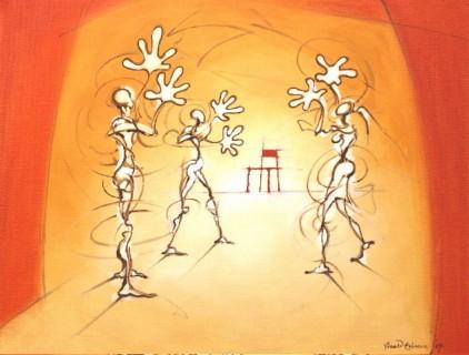 Applaudisserende figuren en een lege stoel